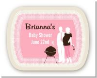 Silhouette Couple BBQ Girl - Personalized Baby Shower Rounded Corner Stickers