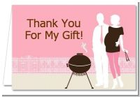 Silhouette Couple BBQ Girl - Baby Shower Thank You Cards