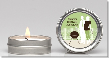 Silhouette Couple BBQ Neutral - Baby Shower Candle Favors