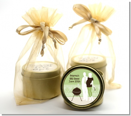 Silhouette Couple BBQ Neutral - Baby Shower Gold Tin Candle Favors