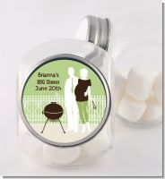 Silhouette Couple BBQ Neutral - Personalized Baby Shower Candy Jar