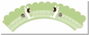 Silhouette Couple BBQ Neutral - Baby Shower Cupcake Wrappers