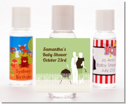 Silhouette Couple BBQ Neutral - Personalized Baby Shower Hand Sanitizers Favors