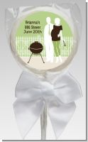 Silhouette Couple BBQ Neutral - Personalized Baby Shower Lollipop Favors