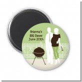 Silhouette Couple BBQ Neutral - Personalized Baby Shower Magnet Favors