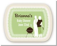 Silhouette Couple BBQ Neutral - Personalized Baby Shower Rounded Corner Stickers