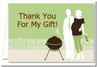 Silhouette Couple BBQ Neutral - Baby Shower Thank You Cards