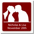 Silhouette Couple - Square Personalized Bridal Shower Sticker Labels thumbnail