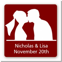 Silhouette Couple - Square Personalized Bridal Shower Sticker Labels