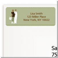 Silhouette Couple African American It's a Baby Neutral - Baby Shower Return Address Labels
