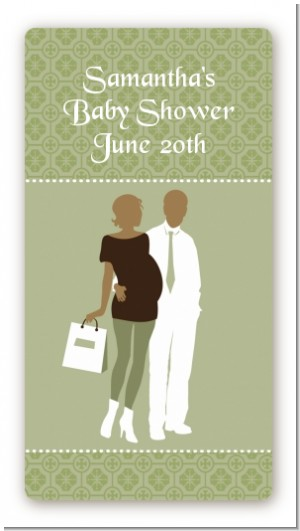 Silhouette Couple African American It's a Baby Neutral - Custom Rectangle Baby Shower Sticker/Labels