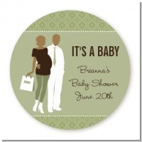 Silhouette Couple African American It's a Baby Neutral - Round Personalized Baby Shower Sticker Labels