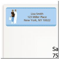 Silhouette Couple African American It's a Boy - Baby Shower Return Address Labels
