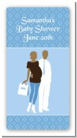 Silhouette Couple African American It's a Boy - Custom Rectangle Baby Shower Sticker/Labels