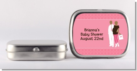 Silhouette Couple African American It's a Girl - Personalized Baby Shower Mint Tins