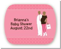 Silhouette Couple African American It's a Girl - Personalized Baby Shower Rounded Corner Stickers
