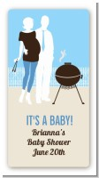 Silhouette Couple BBQ Boy - Custom Rectangle Baby Shower Sticker/Labels