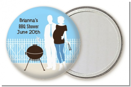 Silhouette Couple BBQ Boy - Personalized Baby Shower Pocket Mirror Favors