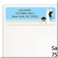 Silhouette Couple BBQ Boy - Baby Shower Return Address Labels