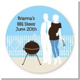 Silhouette Couple BBQ Boy - Round Personalized Baby Shower Sticker Labels