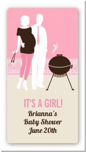 Silhouette Couple BBQ Girl - Custom Rectangle Baby Shower Sticker/Labels