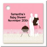 Silhouette Couple BBQ Girl - Personalized Baby Shower Card Stock Favor Tags