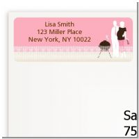 Silhouette Couple BBQ Girl - Baby Shower Return Address Labels
