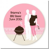 Silhouette Couple BBQ Girl - Round Personalized Baby Shower Sticker Labels
