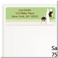Silhouette Couple BBQ Neutral - Baby Shower Return Address Labels