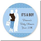 Silhouette Couple | It's a Boy - Round Personalized Baby Shower Sticker Labels