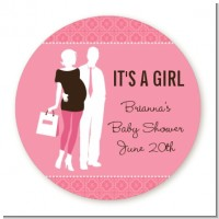 Silhouette Couple | It's a Girl - Round Personalized Baby Shower Sticker Labels