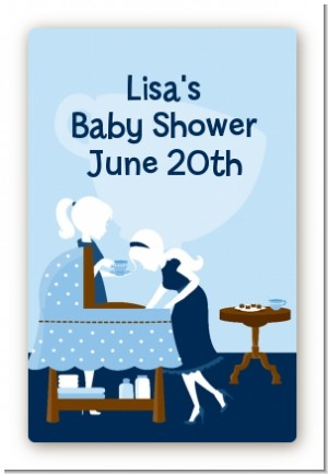 Sip and See It's a Boy - Custom Large Rectangle Baby Shower Sticker/Labels