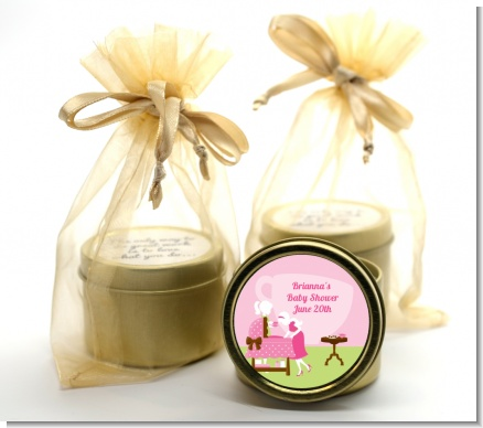 Sip and See It's a Girl - Baby Shower Gold Tin Candle Favors