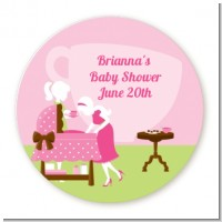 Sip and See It's a Girl - Round Personalized Baby Shower Sticker Labels