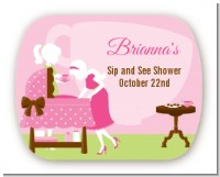 Sip and See It's a Girl - Personalized Baby Shower Rounded Corner Stickers