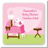 Sip and See It's a Girl - Square Personalized Baby Shower Sticker Labels