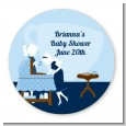 Sip and See It's a Boy - Round Personalized Baby Shower Sticker Labels thumbnail