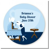 Sip and See It's a Boy - Round Personalized Baby Shower Sticker Labels