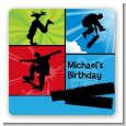 Skateboard - Square Personalized Birthday Party Sticker Labels thumbnail