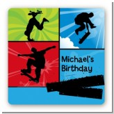 Skateboard - Square Personalized Birthday Party Sticker Labels