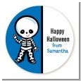 Skeleton - Round Personalized Halloween Sticker Labels thumbnail
