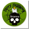 Skull and candle - Round Personalized Halloween Sticker Labels thumbnail