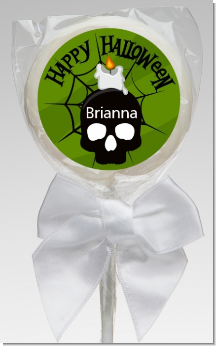 Skull and candle - Personalized Halloween Lollipop Favors