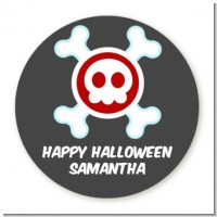 Skull - Round Personalized Halloween Sticker Labels