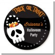 Skull Treat Bag - Round Personalized Halloween Sticker Labels thumbnail