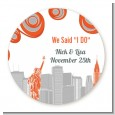 New York Skyline - Round Personalized Bridal Shower Sticker Labels thumbnail