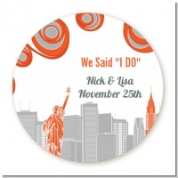 New York Skyline - Round Personalized Bridal Shower Sticker Labels
