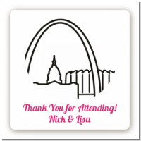 St. Louis Skyline - Square Personalized Bridal Shower Sticker Labels