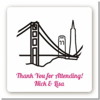 San Francisco Skyline - Square Personalized Bridal Shower Sticker Labels