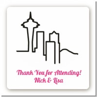 Seattle Skyline - Square Personalized Bridal Shower Sticker Labels